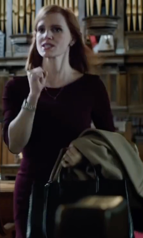 Jessica Chastain with Prada Saffiano East-West Medium Tote Bag in Miss Sloane