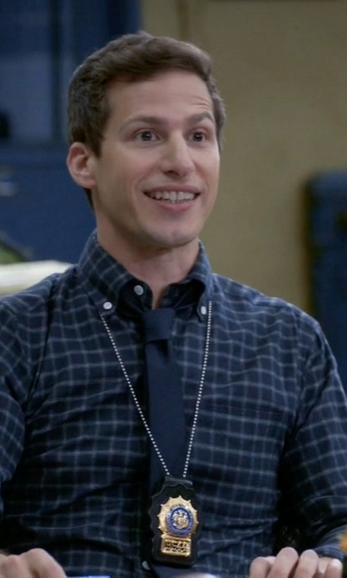 Andy Samberg with Zegna Shirt Check Cotton Spread Collar Shirt in Brooklyn Nine-Nine