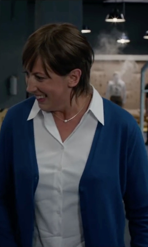 Miranda Hart with Boss Cotton Blend V-Neck Blouse in Spy