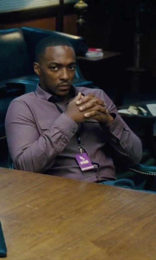 Anthony Mackie with Canali Regular Fit Textured Sport Shirt in Our Brand Is Crisis