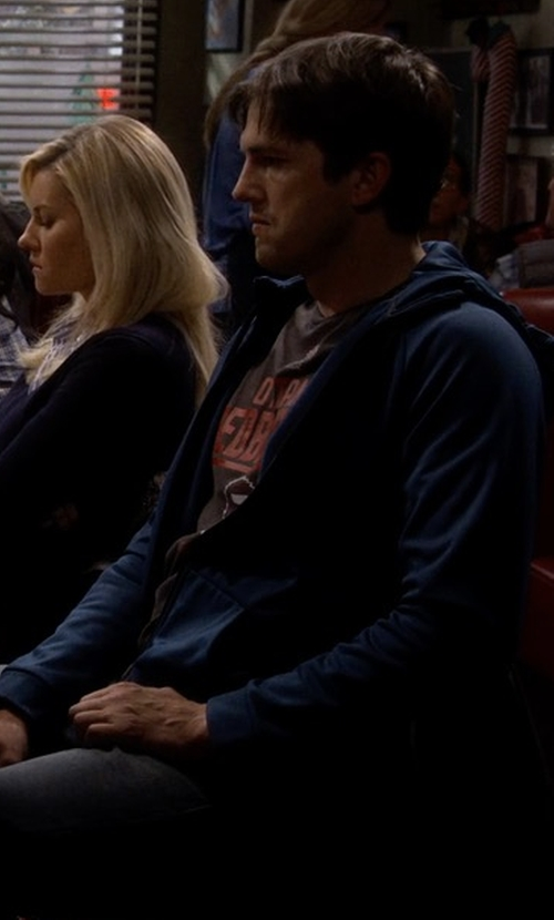 Ashton Kutcher with The Good Man Brand French Terry Front-Zip Hoodie in The Ranch