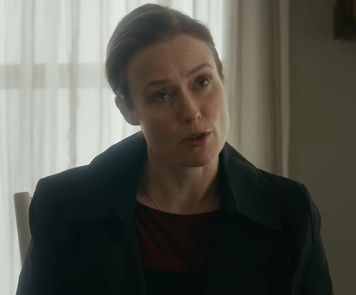 Jennifer Ehle with Laundry by Shelli Segal Double-Breasted Trench Coat in The Fundamentals of Caring