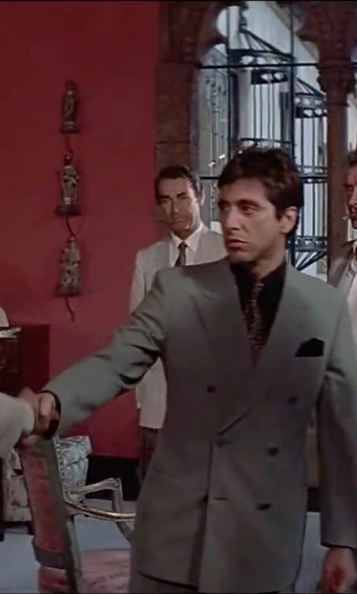 Al Pacino with Brunello Cucinelli Houndstooth Linen Wool And Silk Blend Suit in Scarface