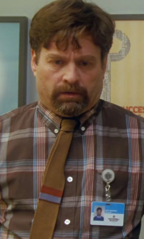 Zach Galifianakis with Hickey Freeman  Plaid Cotton Sportshirt in Keeping Up with the Joneses