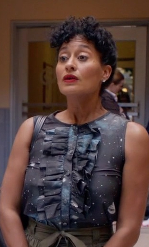 Tracee Ellis Ross with Marc By Marc Jacobs Stargazer Ruffled Bib Sleeveless Shirt in Black-ish