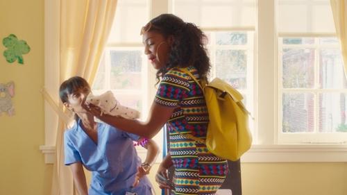 Tiffany Haddish with Vera Bradley Drawstring Backpack in Girls Trip