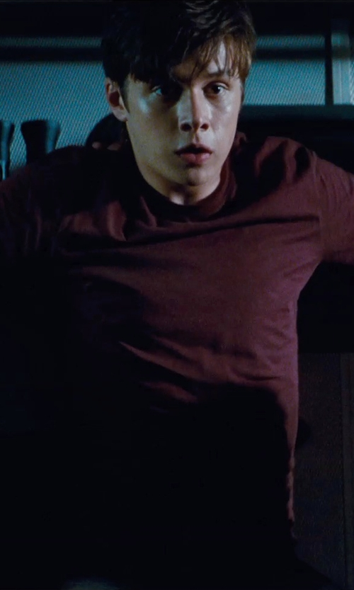 Nick Robinson with River Island Crew Neck T-Shirt in Jurassic World