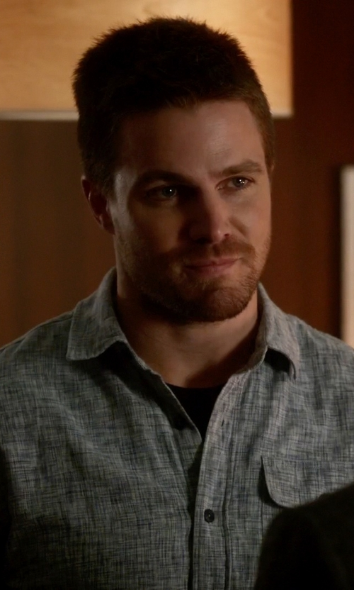 Stephen Amell with Càrrel Button Down Shirt in The Flash