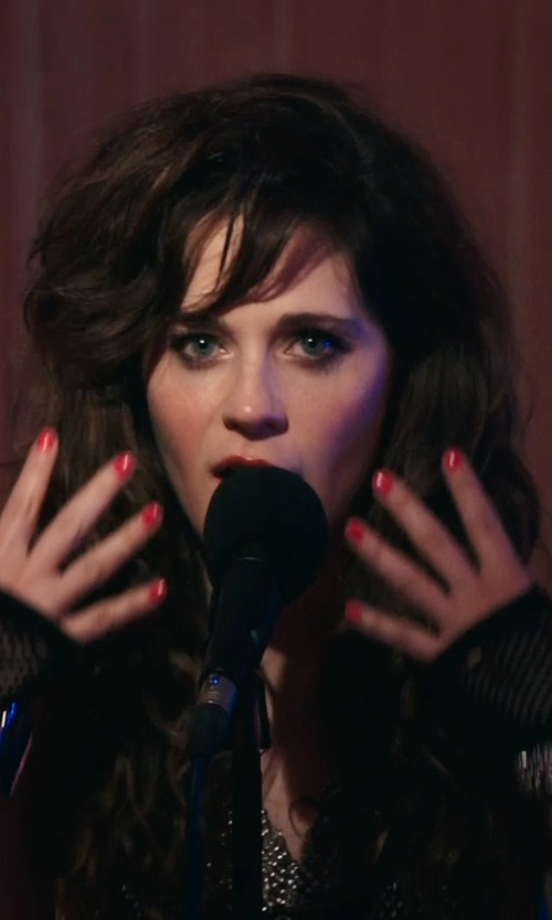 Zooey Deschanel with Volyer Cashmere Half Finger Gloves in Rock The Kasbah