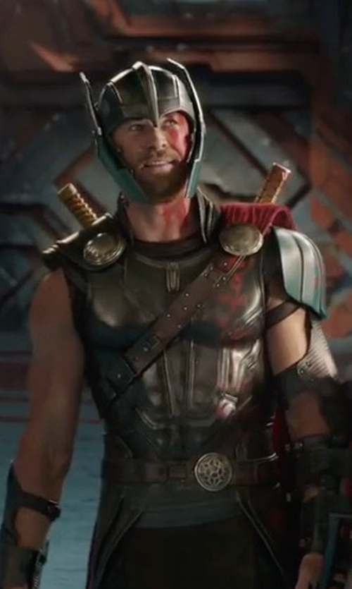 Chris Hemsworth with Mayes C. Rubeo (Costume Designer) Custom Made Thor Helmet in Thor: Ragnarok