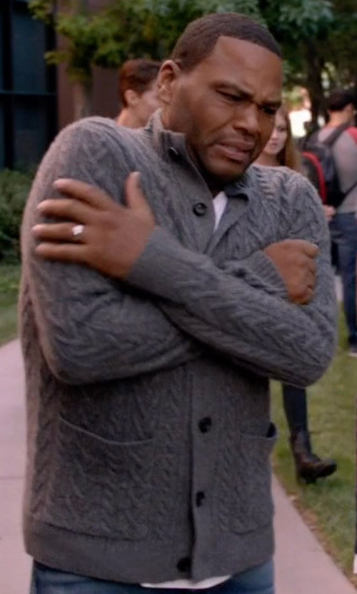 Anthony Anderson with Saks Fifth Avenue Collection Cashmere Cable Cardigan Sweater in Black-ish