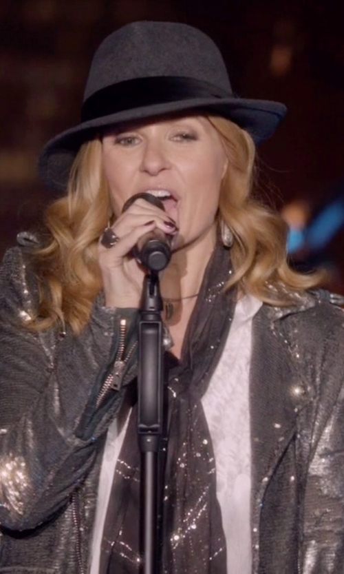 Connie Britton with IRO Sequined Biker Jacket in Nashville