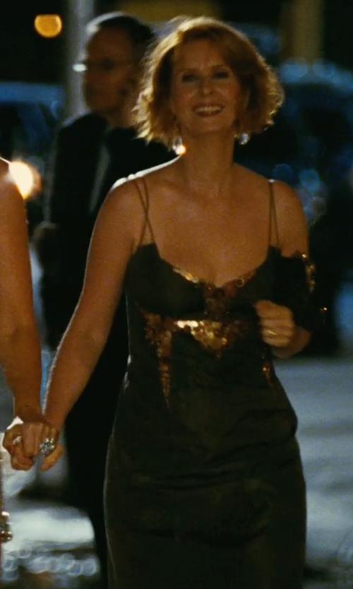 Cynthia Nixon with Carolina Herrera Sequin Sheath Dress in Sex and the City