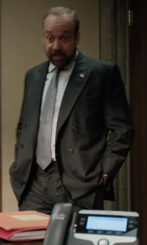 Paul Giamatti with Boglioli Double Breasted Suit in Billions