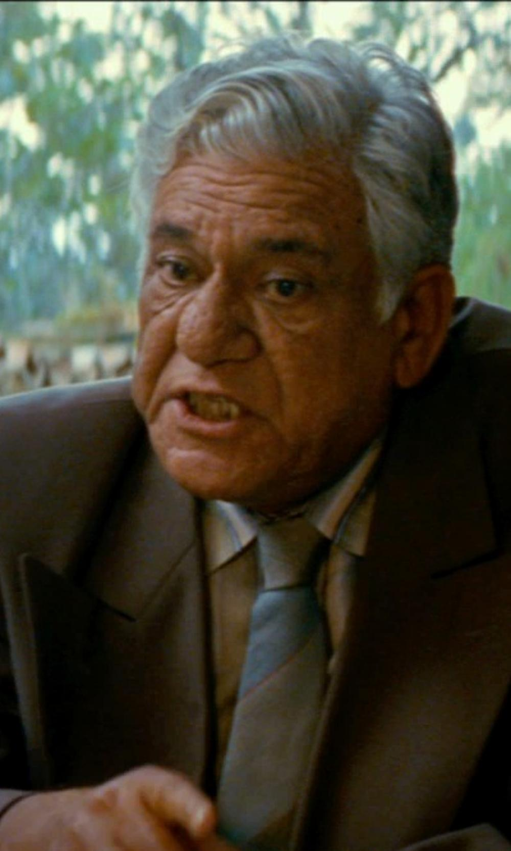 Om Puri with Kenneth Cole Reaction Grey and Yellow Stripe Dress Shirt in The Hundred-Foot Journey