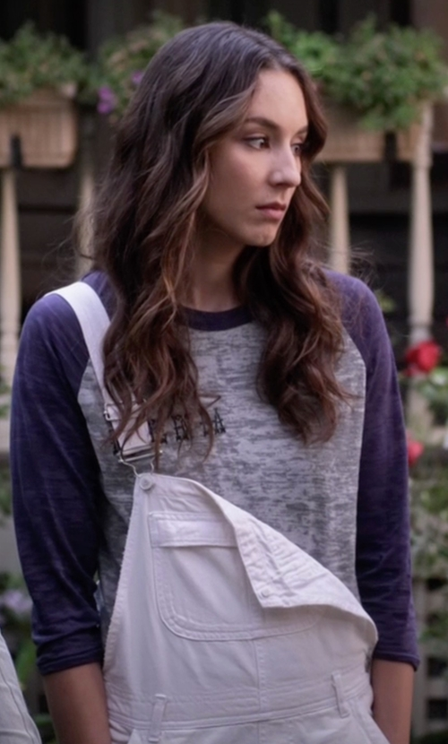Troian Bellisario with Topshop Moto Dungaree Short Overalls in Pretty Little Liars