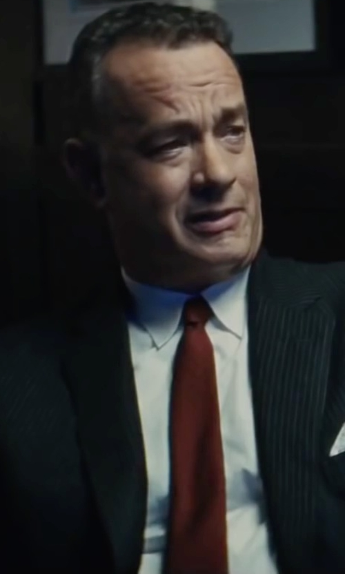 Tom Hanks with Turnbull & Asser Solid Rib Classic Tie in Bridge of Spies