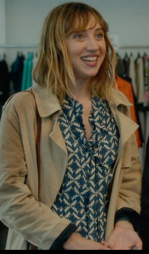 Zoe Kazan with Foxcroft Women's Vintage Toile Print Blouse in What If