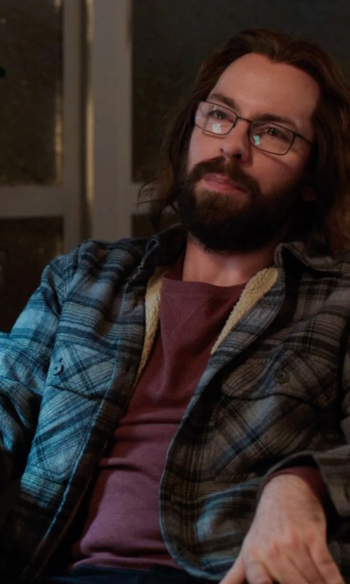 Martin Starr with 21Men Plaid Workwear Shirt Jacket in Silicon Valley