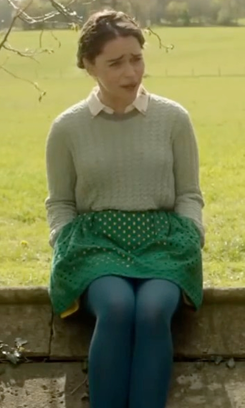 Emilia Clarke with Zara Cable Knit Sweater in Me Before You