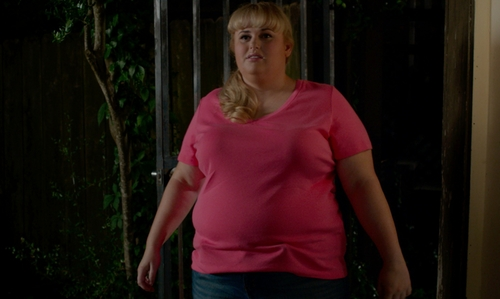 Rebel Wilson with Style & Co. Pink V-Neck Tee in Pitch Perfect 2