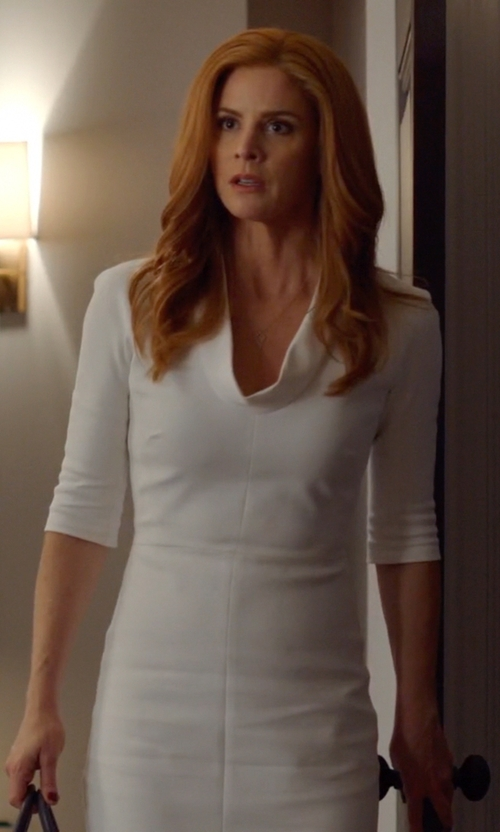 Sarah Rafferty with Victoria Beckham High Neck Fitted Dress in Suits