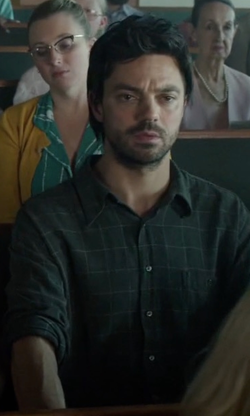 Dominic Cooper with Theory Brushed Tonal Plaid Cotton Shirt in Preacher