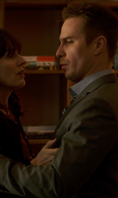 Sam Rockwell with Banana Republic BR Monogram Grey Pinpoint Italian Wool Suit Jacket in Poltergeist