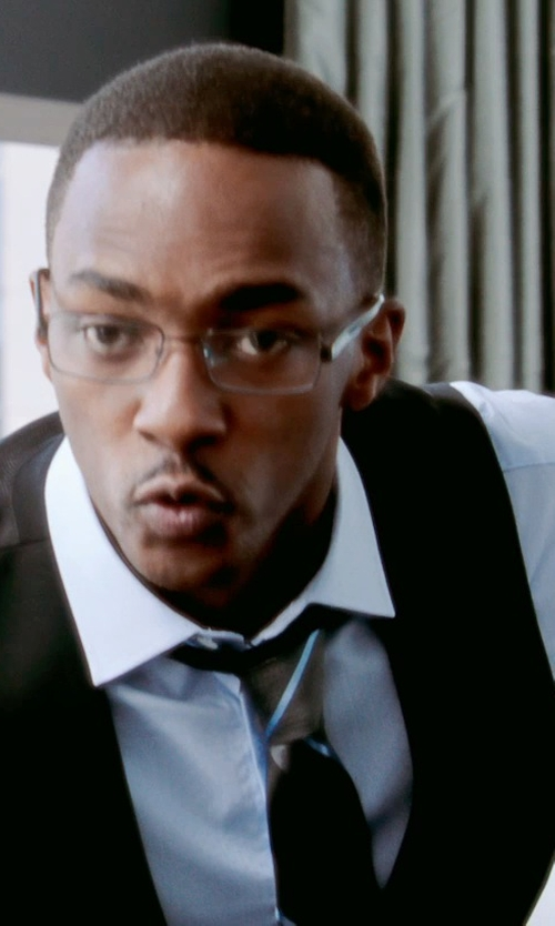 Anthony Mackie with Paul Smith London Byard Trim Fit Solid Dress Shirt in Black or White