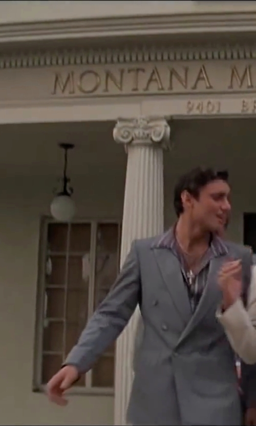 Steven Bauer with Jos. A. Bank 1905 Tailored Fit Double Breasted Wool Suit  in Scarface