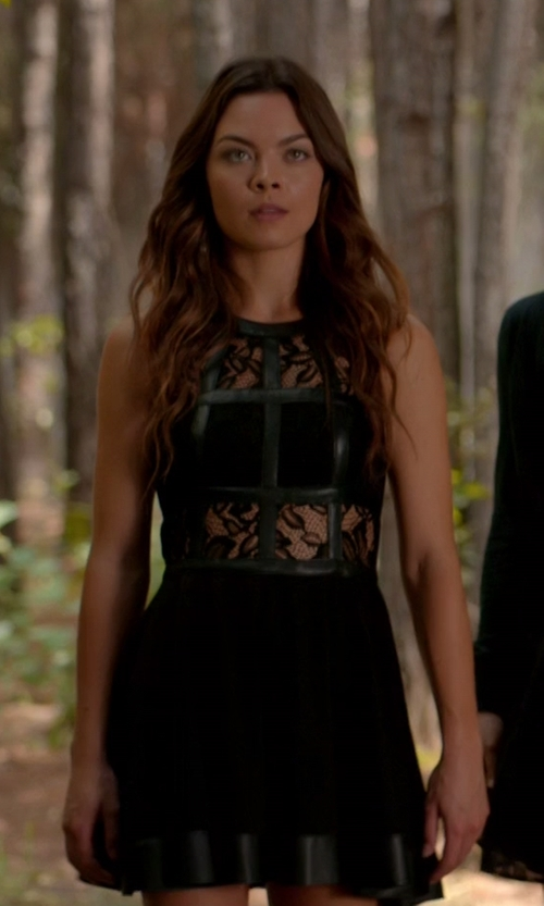 Scarlett Byrne with Free People Snowdrop Lace Trapeze Dress in The Vampire Diaries