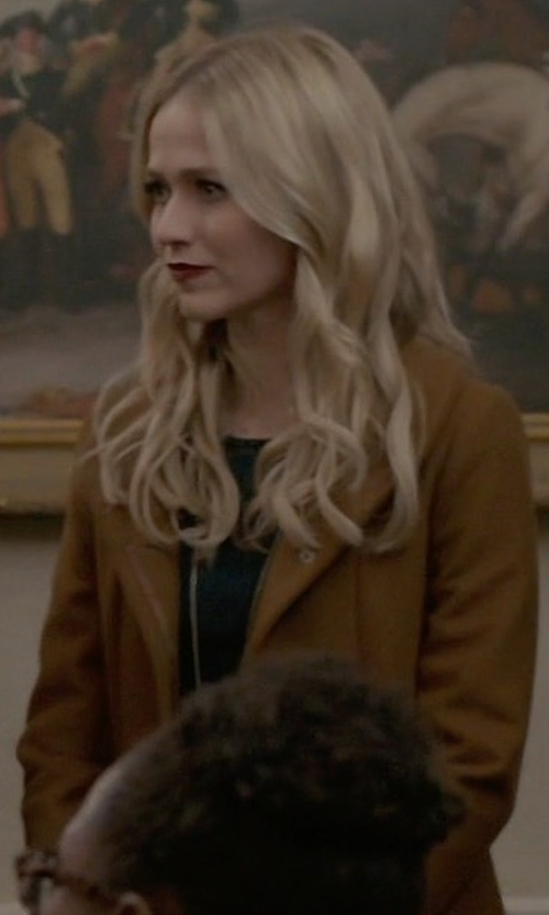 Johanna Braddy with Club Monaco Kimana Coat in Quantico