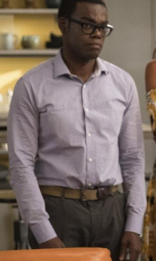 William Jackson Harper with Calibrate Extra Trim Fit Print Stretch Dress Shirt in The Good Place