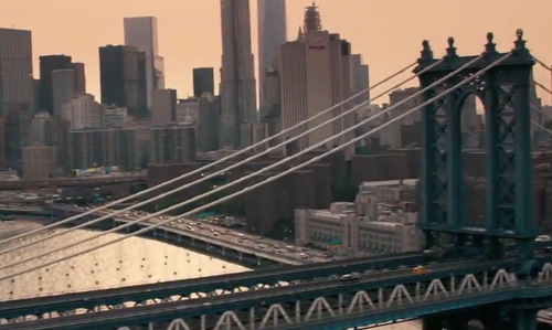 Unknown Actor with Manhattan Bridge New York City, New York in How To Be Single