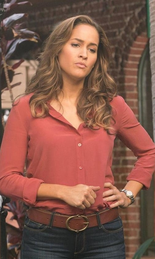 Jaina Lee Ortiz with Frank & Eileen Long-Sleeve Button-Front Blouse in Rosewood