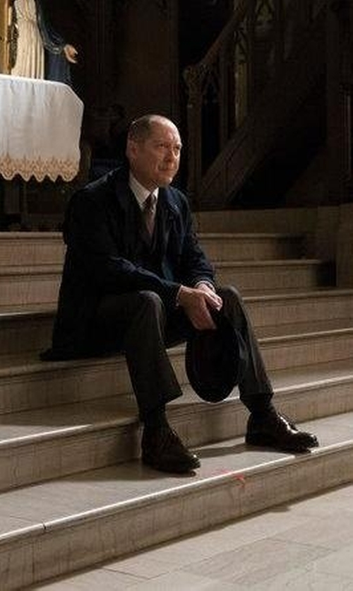 James Spader with Salvatore Ferragamo Stream In Auburn Deer Oxford Shoes in The Blacklist