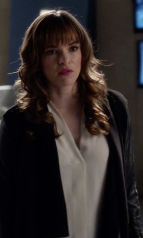 Danielle Panabaker with Theory Meniph Classic Silk V-Neck Blouse in The Flash