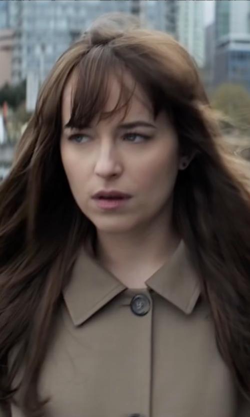 Dakota Johnson with A.P.C. Mac Hooded Morgate Coat in Fifty Shades Darker