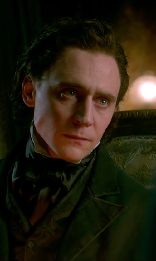 Tom Hiddleston with Lauren Ralph Lauren Chesterfield Single-Breasted Overcoat in Crimson Peak