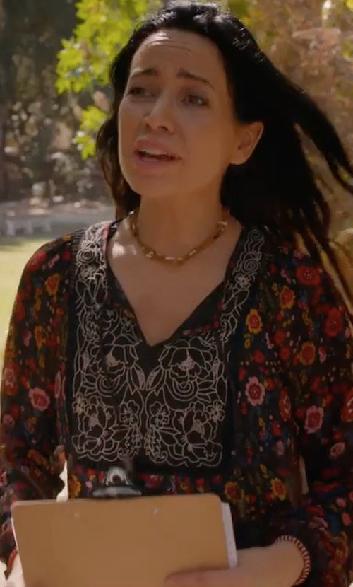 Janeane Garofalo with Ella Moss Fiore Long-Sleeve Floral-Print Blouse in Wet Hot American Summer: Ten Years Later