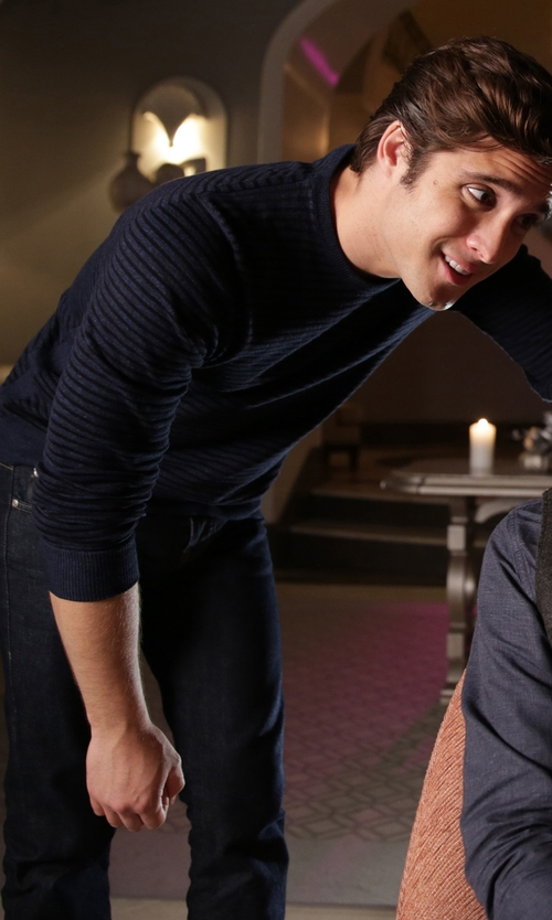 Diego Boneta with Norse Projects Sigfred Slub Stripe Pullover in Scream Queens