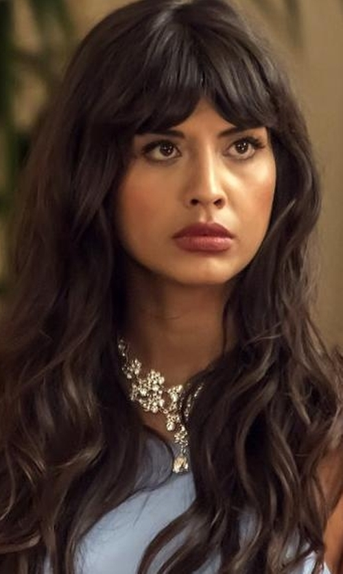 Jameela Jamil with Fallon Monarch Heart Drop Bib Necklace in The Good Place