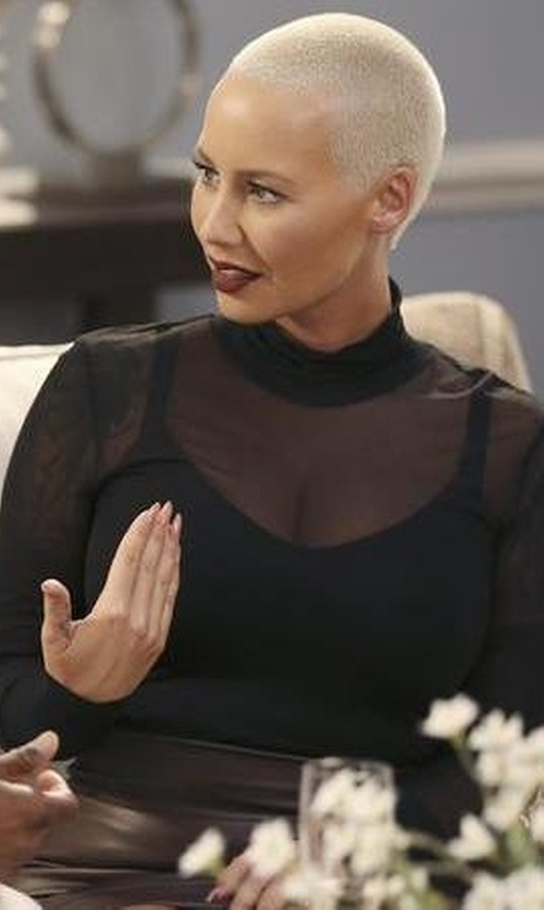 Amber Rose with Antonio Marras Mesh Turtle Neck Sweater in Black-ish