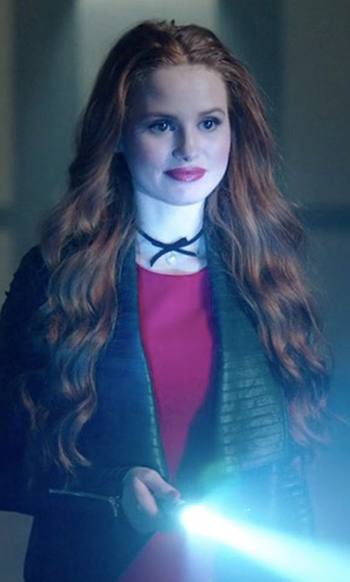 Madelaine Petsch with Nasty Gal Here Kitty Satin Choker in Riverdale