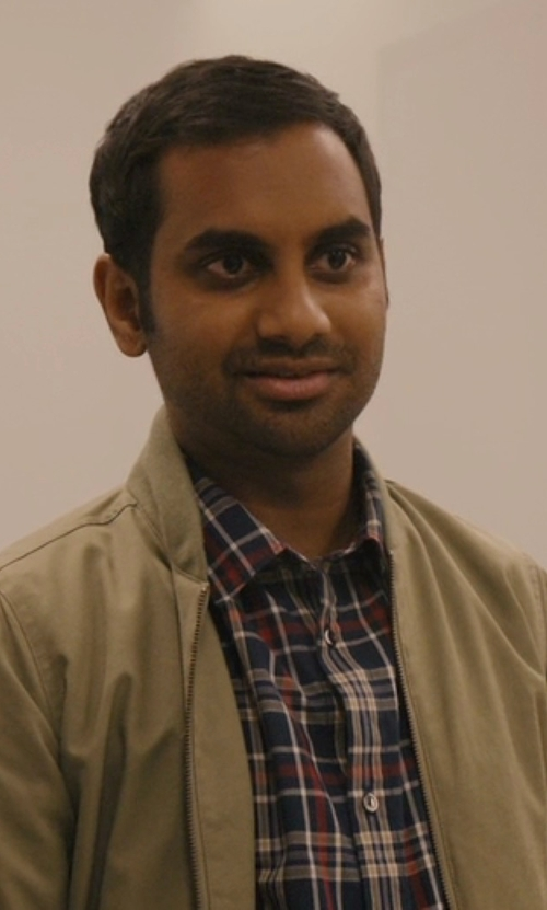 Aziz Ansari with Vince Plaid Button-Down Shirt in Master of None