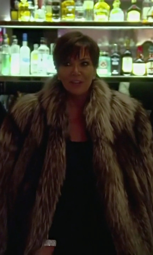 Kris Jenner with Bergama Whiskey Dyed Raccoon Fur Stroller Coat in Keeping Up With The Kardashians