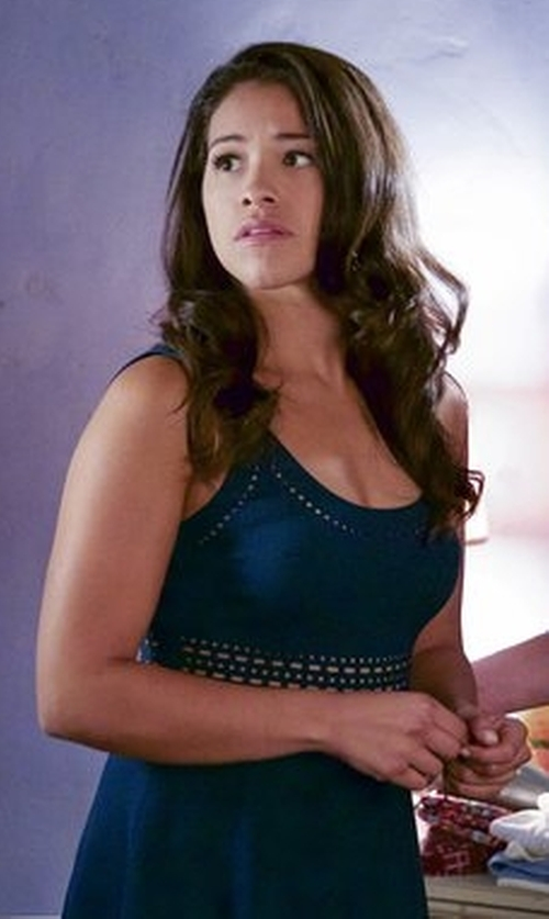 Gina Rodriguez with Elizabeth and James Kenton Sleeveless Mini Dress in Jane the Virgin