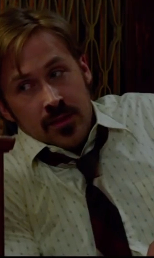 Ryan Gosling with Anto Beverly Hills Custom Made Stripe and Dot Dress Shirt in The Nice Guys