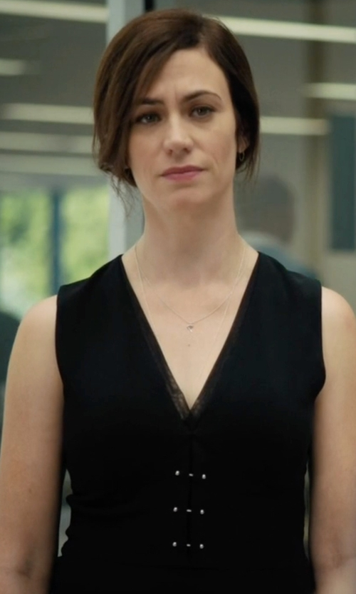 Maggie Siff with Akris Architecture Collection Sleeveless V-Neck Wool Shell Top in Billions