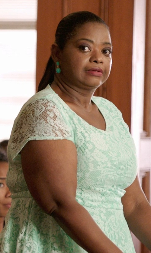 Octavia Spencer with Jemma Sands Chrysoprase Double Drop Earrings in Black or White